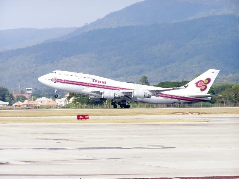 HS-TGM Boeing 747-400 von Thaiairway lizenzfreies stockbild
