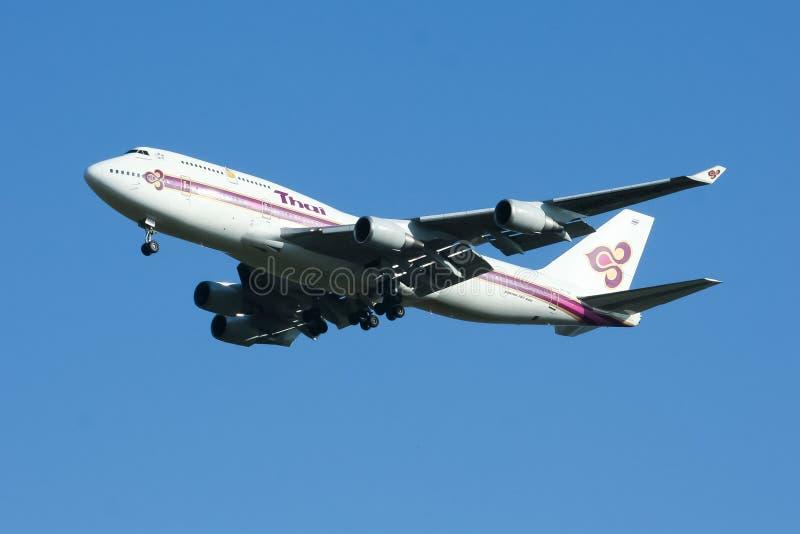 Hs-TGN van Boeing 747-400 Thaiairway royalty-vrije stock foto's
