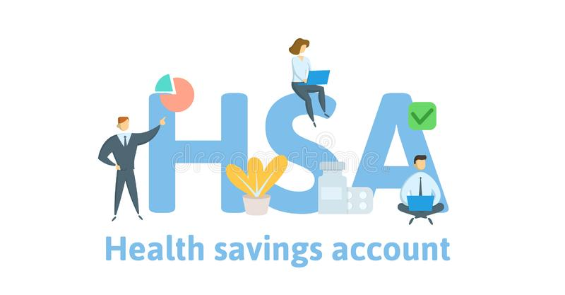 HSA, Health Savings Account. Concept with keywords, letters and icons. Flat vector illustration. Isolated on white royalty free illustration