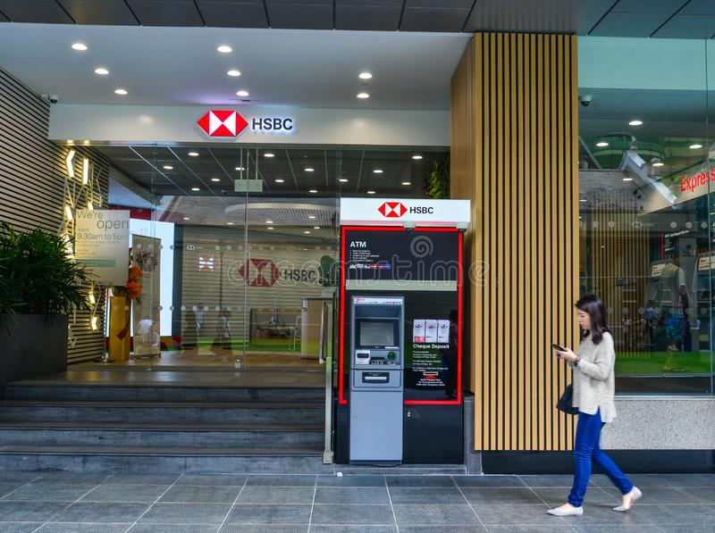 HSBC bank i Singapore royaltyfri fotografi