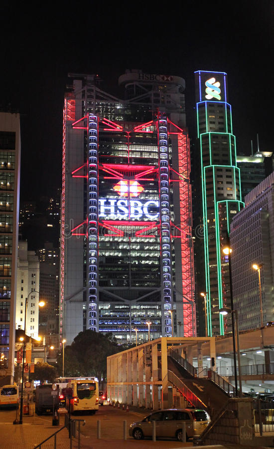 Free HSBC Building And Other Skyscrapers In Hong Kong By Night Stock Photo - 69227130