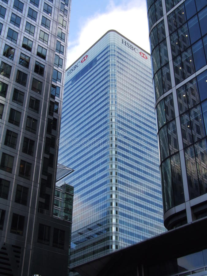 HSBC-de Bankbouw in Canary Wharf Londen stock foto's