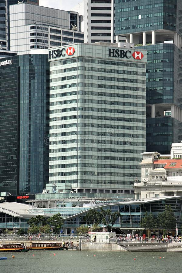HSBC HQ in Singapore. HSBC - The Hongkong and Shanghai Banking Corporation Limited - headquarters in Singapore. In Singapore, In Singapore HSBC operates as a stock photo