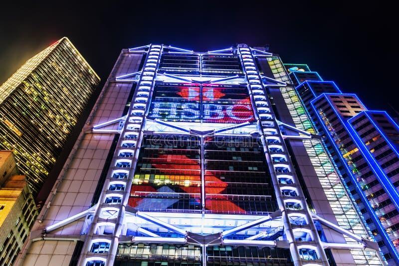 HSBC huvudbyggnad i Hong Kong på natten royaltyfria bilder