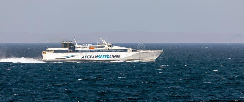 AEGEAN SEA, GREECE - AUGUST 25, 2019: Speedrunner III in Aegean sea on August 25, 2019. royalty free stock photo