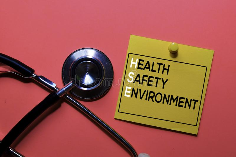 HSE. Health Safety Environment acronym on sticky notes. Office desk background stock photography
