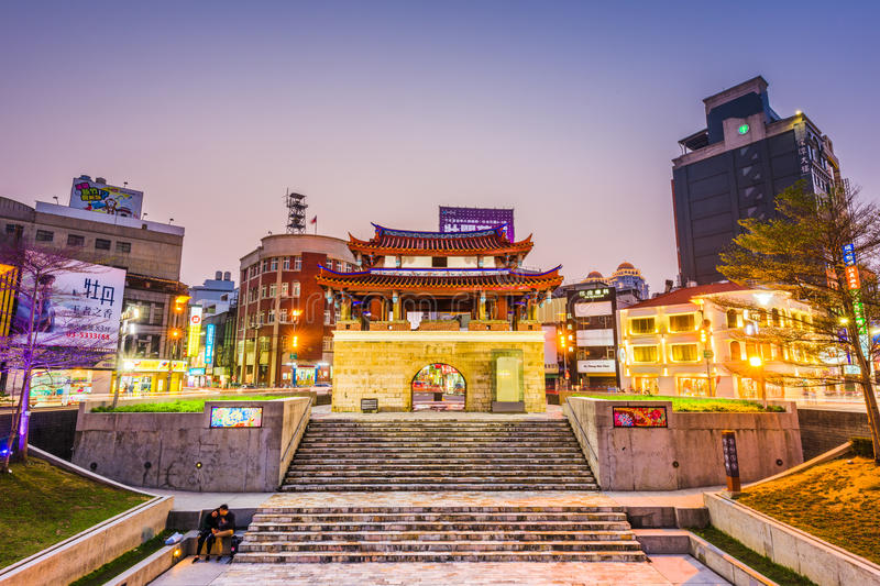 Hsinchu, Taiwan Cityscape. HSINCHU, TAIWAN - MARCH 5, 2017: Downtown Hsinchu cityscape with the Eastern Gate. The gate is the last remaining of Hsinchu`s stock images
