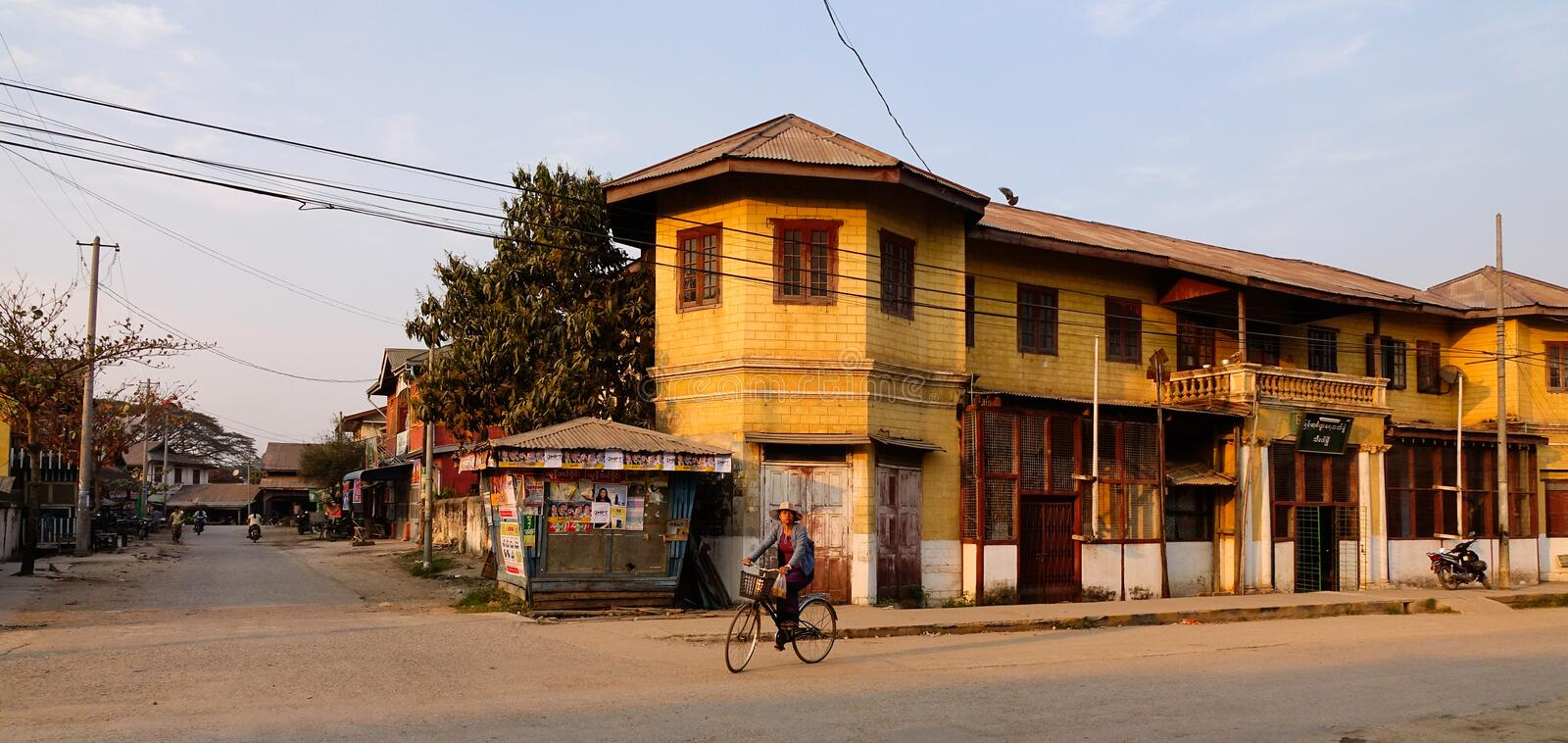 Old buildings in Hsipaw, Myanmar royalty free stock image