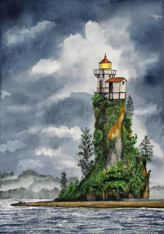 Hsndmade watercolor illustration of lighthouse royalty free stock photography
