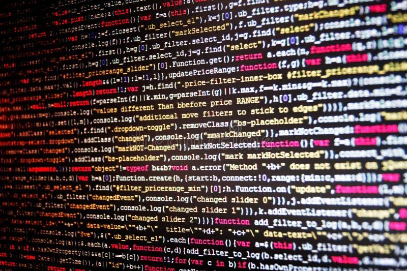 HTML网站结构 显示在计算机上的节目代码 Java语言作用,可变物,对象 免版税图库摄影