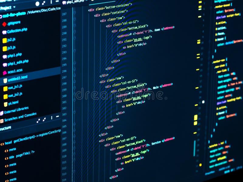 HTML5在代码编辑的主菜单网站发展的,实施更好的SERP的SEO概念 库存照片