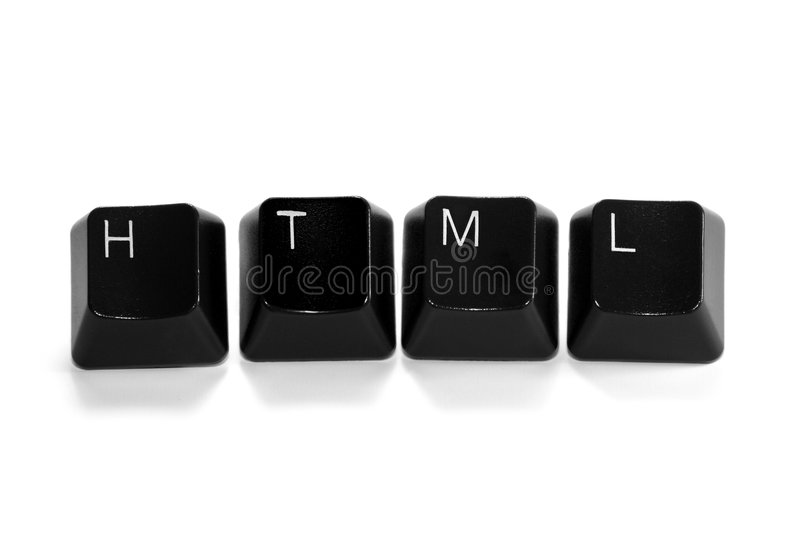 HTML. Written with keyboard keys, isolated on white background stock photo