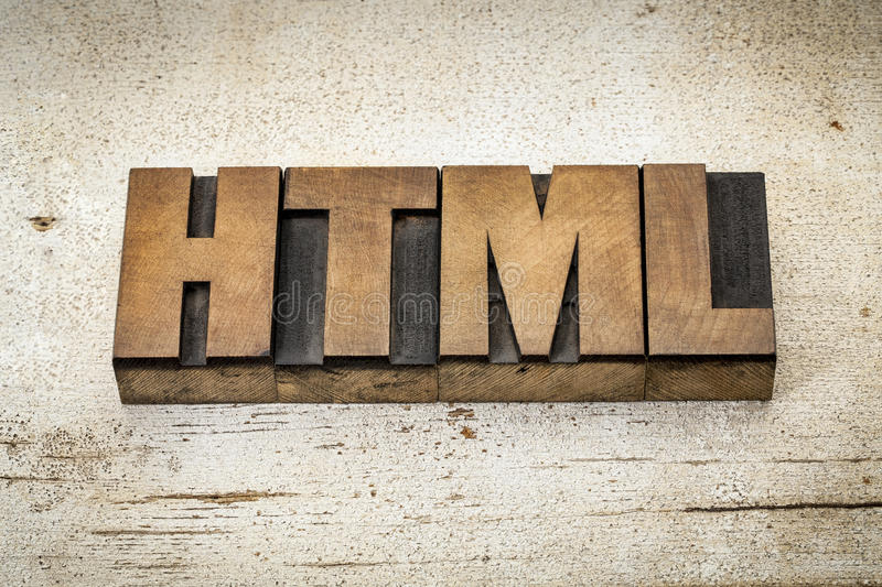Html acronym in wood type stock photography