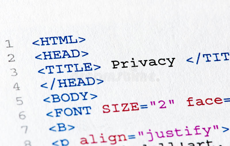 Html code. Close up of the html code page royalty free stock photos