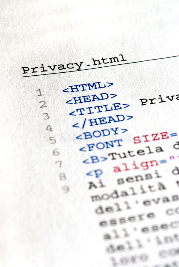 Html code. Close up of the HTML code page royalty free stock photo