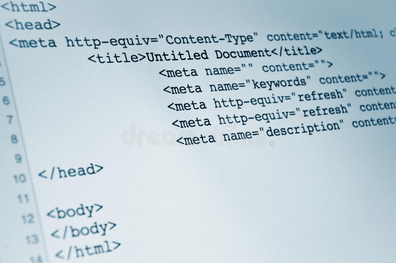 HTML code. Html computer code, background image representing internet concept stock photography