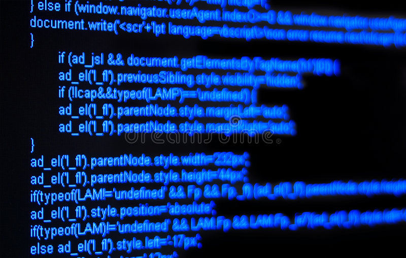 Html code. Blue html code on black screen royalty free stock image