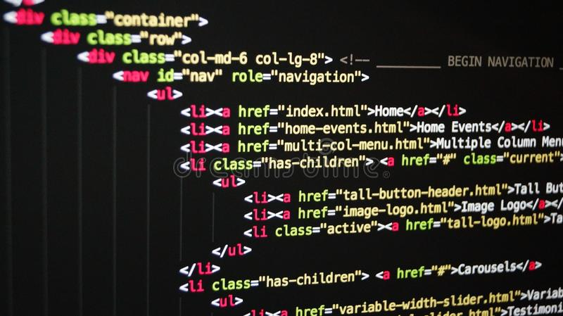 HTML code royalty free stock photography