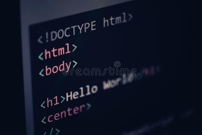 Html code - html5 Computer language programming Javascript code internet text editor components on display screen stock photo