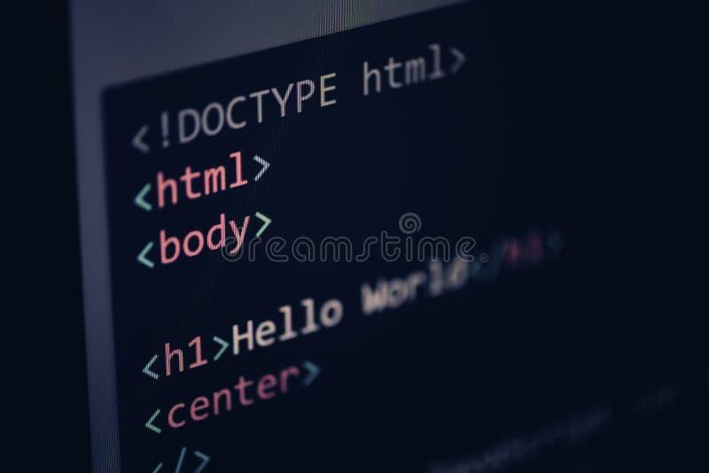 HTML-code - html5-Computertaal die Javascript-de teksteditorcomponenten van codeinternet op het vertoningsscherm programmeren stock foto