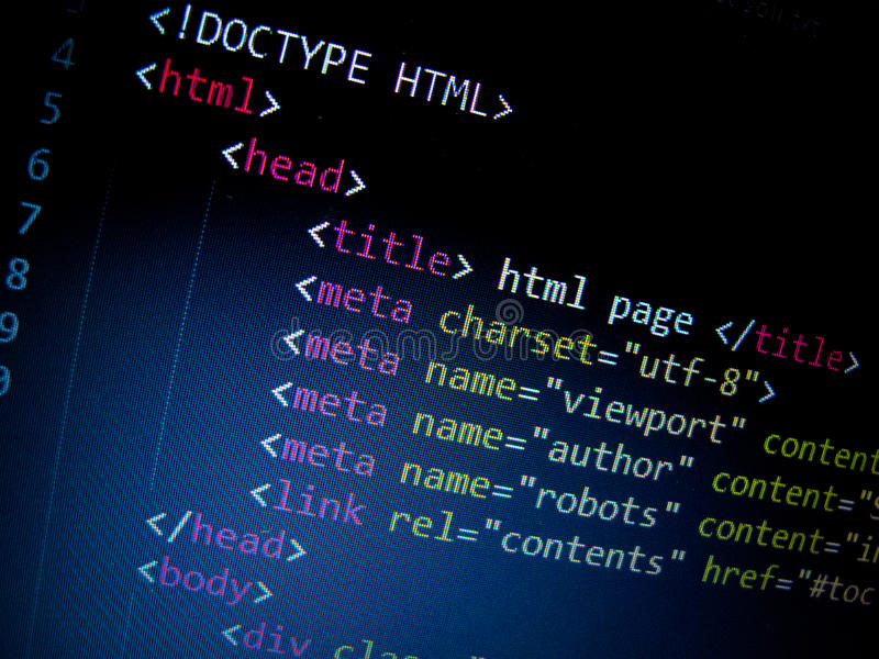 Html code. In text editor royalty free stock photography