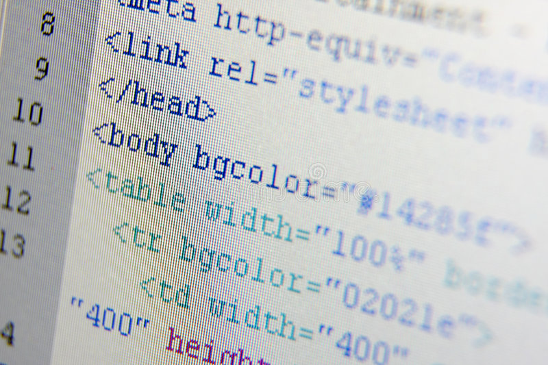 HTML codes. Photo of LCD screen with html codes stock images