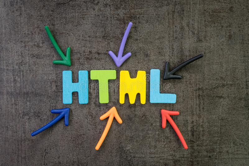HTML coding language programming for website, blog and SEO concept, multi color arrows pointing to the word HTML at the center of stock photo