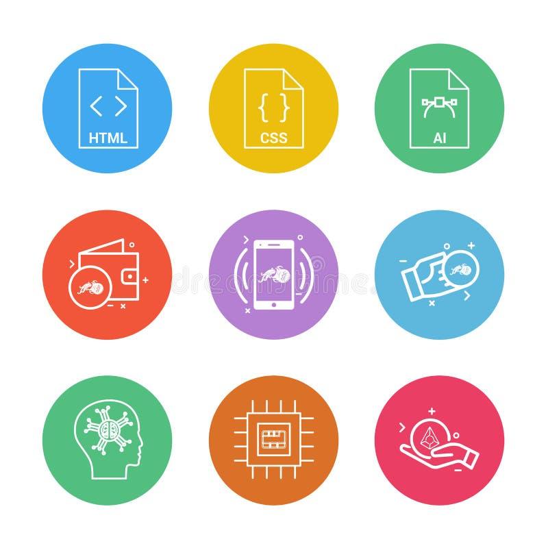 html css, ai, plånbok, mobil, crypto valuta, pengar, ic, vektor illustrationer