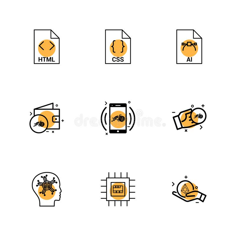 Html , css , ai , wallet, mobile ,crypto currency , money , ic,. Brain ,icon, vector, design, flat, collection, style, creative, icons - This Vector EPS 10 stock illustration