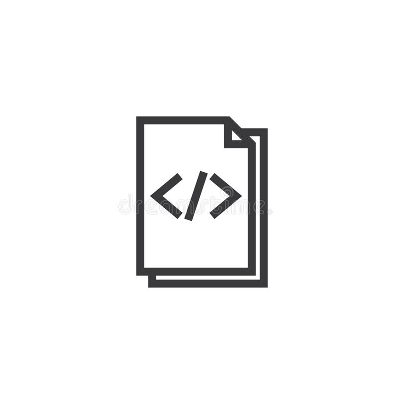 HTML Document paper outline icon. isolated note paper icon in thin line style for graphic and web design. Simple flat symbol Pixel. Perfect Illustration royalty free stock images
