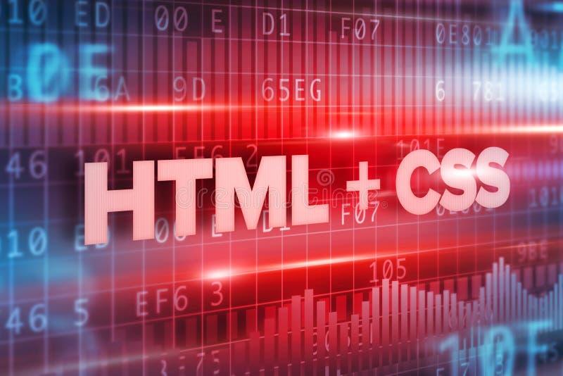 HTML e fondo blu del blu del testo di concetto astratto di css royalty illustrazione gratis