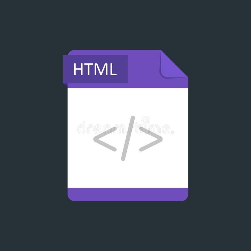 HTML file type icon. Vector illustration isolated on a dark blue background.  stock illustration