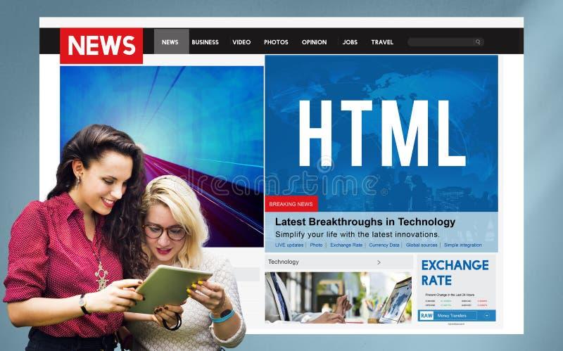 HTML-het Concept van de Websiteinternet van de Netwerkcodage royalty-vrije stock afbeeldingen