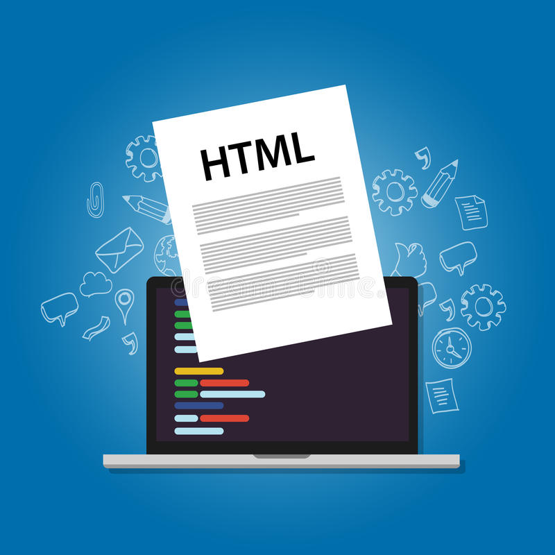 HTML Hyper Text Markup Language web programming coding screen laptop technology website design front site layout royalty free illustration
