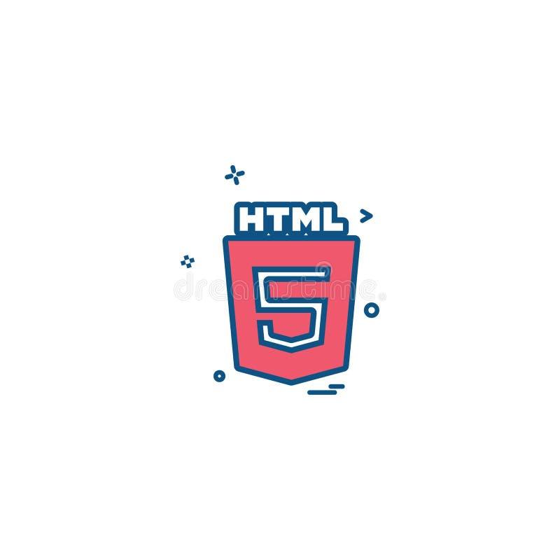 HTML 5 icon design vector royalty free illustration
