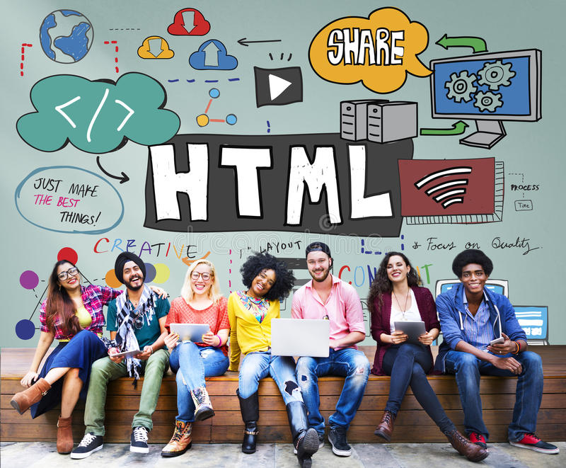 HTML Internet Computer Coding Website Network Concept.  royalty free stock photo