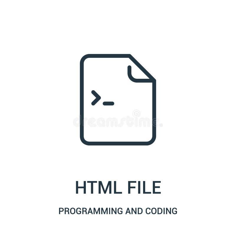 html kartoteki ikony wektor od programowania i cyfrowania kolekcji Cienka linii html kartoteki konturu ikony wektoru ilustracja royalty ilustracja
