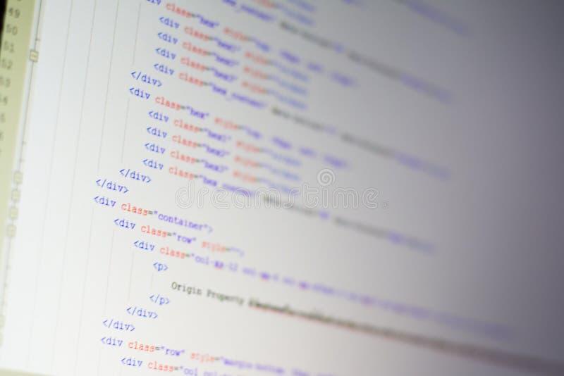HTML kod na LCD ekranie zdjęcia royalty free