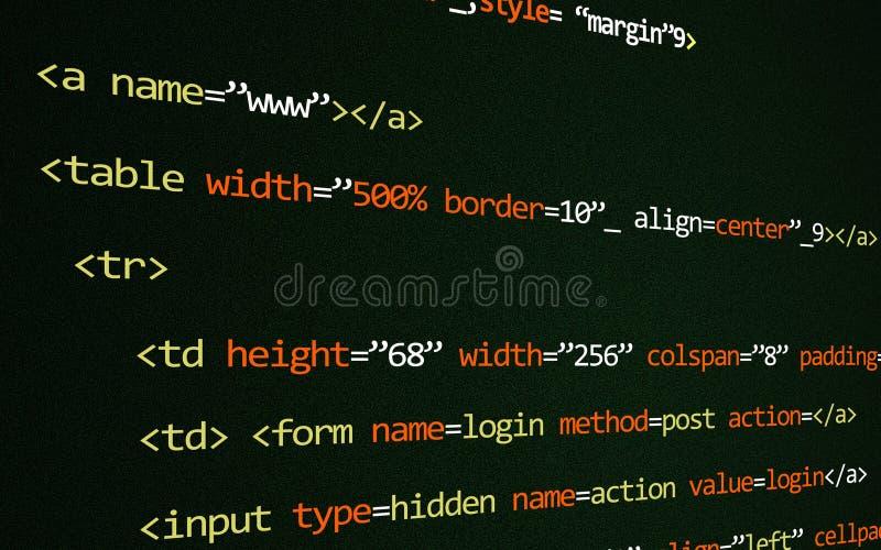 HTML kod na stronie obrazy stock