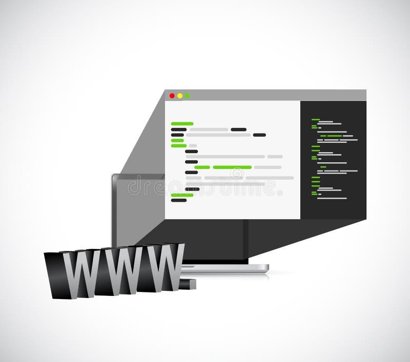 Html-kod på begrepp för diagram för bärbar datorskärmdesign royaltyfri illustrationer