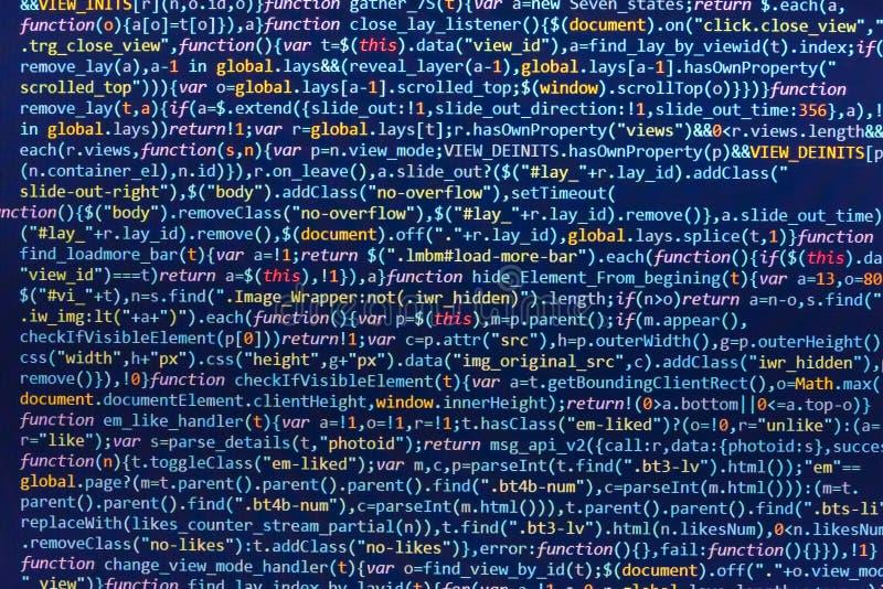 HTML5 no editor para o desenvolvimento do Web site Conceito do Cyberspace da codificação Design do site Código de programação do  ilustração stock