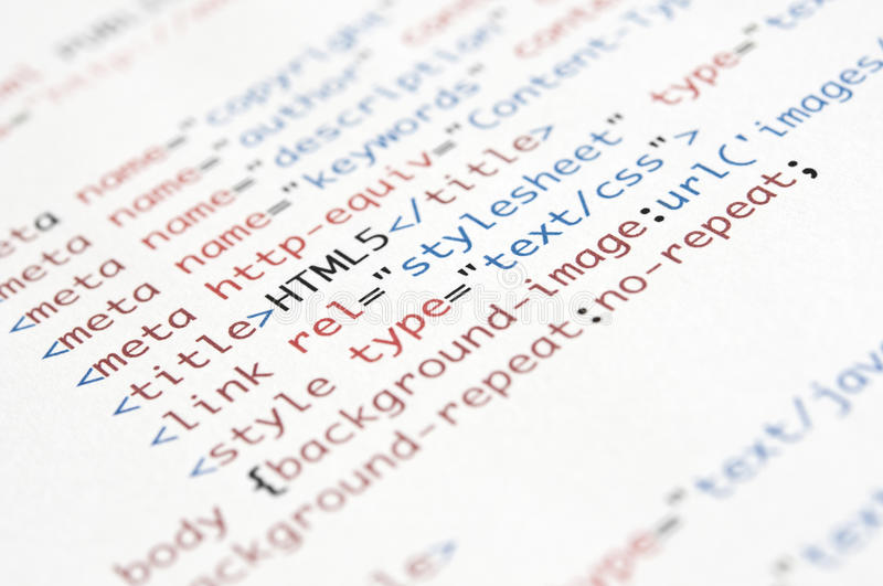 HTML Script. Printed on white paper with shallow depth of field stock photos