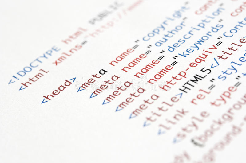 HTML Script. Printed on white paper with shallow depth of field royalty free stock photos