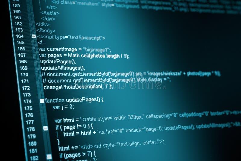 HTML sieci kod fotografia stock