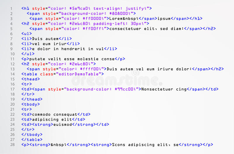 HTML Simple Code Vector. Colorful Abstract Program Tags In Developer View. Screen Of Colored Lighted Syntax Of Source Code Script. stock illustration