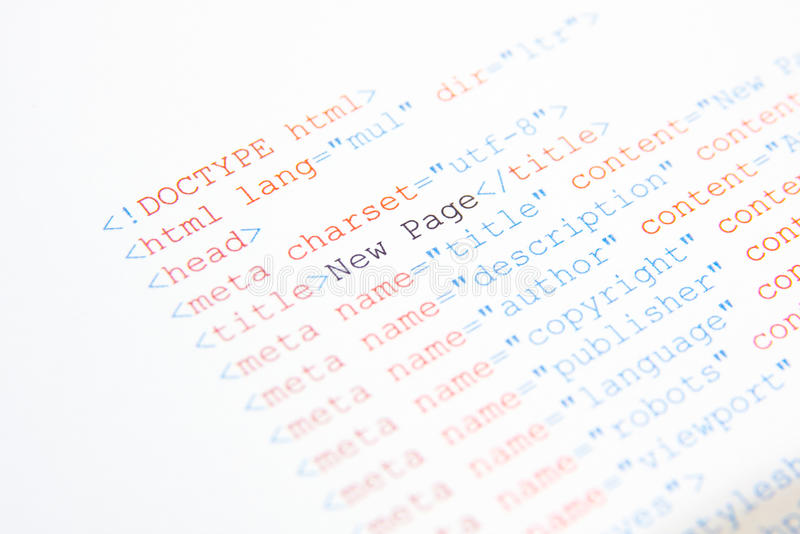 HTML source code. Website html source code printed on a white paper royalty free stock image