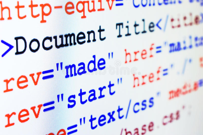 HTML source code of web page with title. HTML source code of web page with document title, metadata description and links monitor screenshot diagonal view, small royalty free stock photos