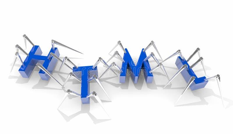 HTML strony internetowej języka programowania Internetowy przedsiębiorca budowlany 3d Illustra ilustracja wektor