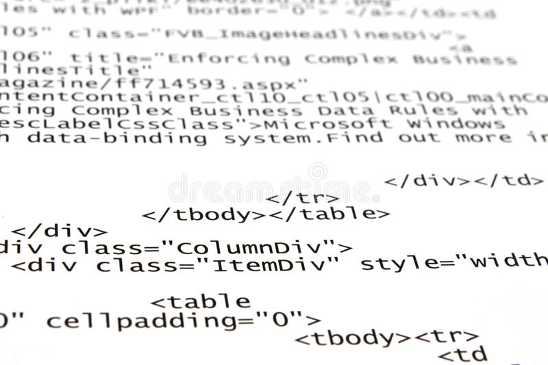 HTML tags. Coding a web page - html tags stock photo