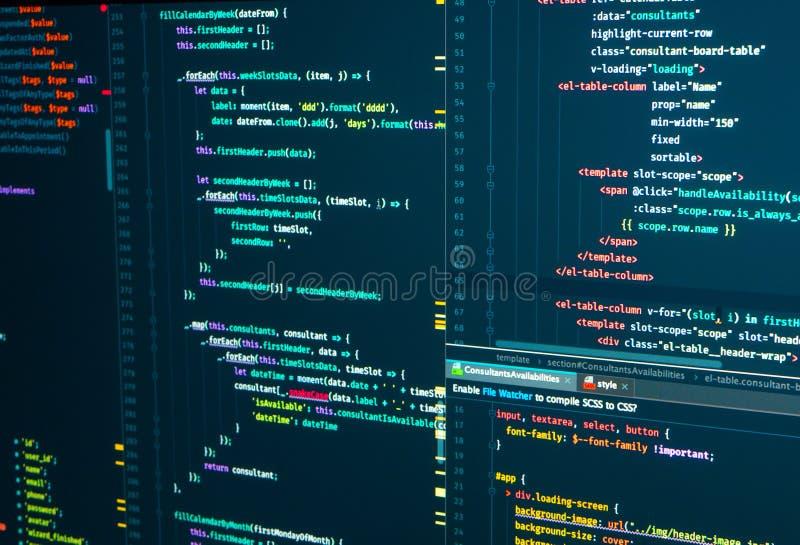 HTML web code. Markup. Javascript programming coding. Script language for software development. HTML web code. Javascript programming coding. Markup. Script stock photo